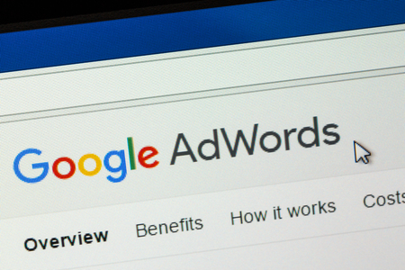search result: Paris, France - January 03, 2017 : Google AdWords is an online advertising service that enables advertisers to compete to display brief advertising copy to web users, based on keywords.