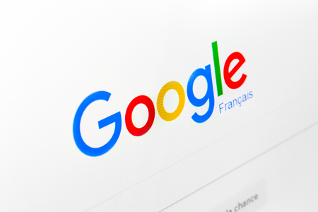 Paris, France - December 15, 2016: Google.fr homepageon the screen. Google is worlds most popular search engine Editorial