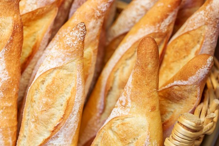 French baguettes in traditional bakery Stock Photo
