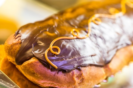 choux bun: Traditional French Dessert with Dark Chocolate