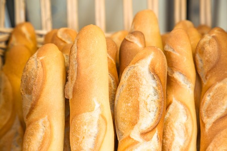 French baguettes in traditional bakery