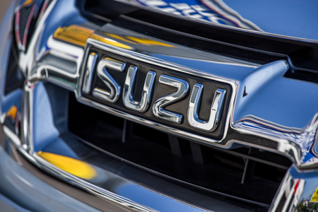 logo marketing: La rochelle, France - April 23, 2015 : closeup on the logo isuzu. Isuzu is a Japanese commercial vehicles and diesel engine manufacturing company headquartered in Tokyo. Its principal activity is the production, marketing and sale of Isuzu commercial vehi