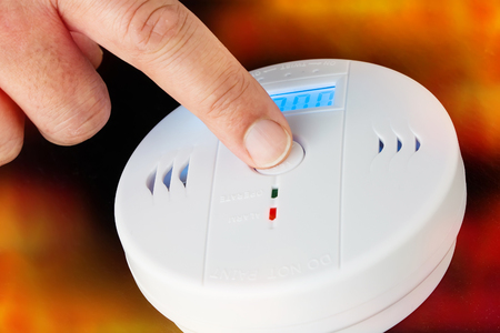 Test of a smoke and fire alarm with carbon monoxide sensor capability 스톡 콘텐츠