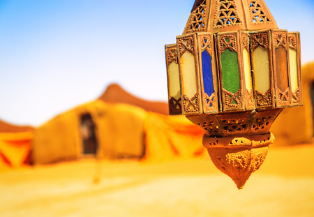 coloreful berber lamp with traditional nomad tents on background Banco de Imagens