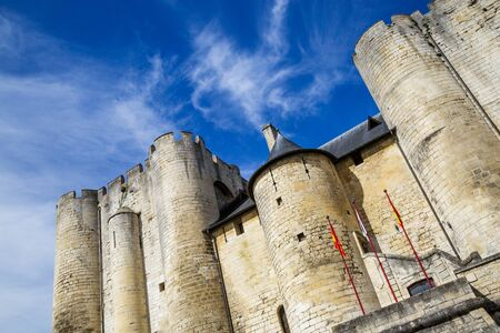 Paris, France - March 27, 2017: Beautiful medieval castle in Niort City, France Editorial