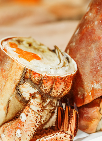half of fresh crab on ice for sale in a fish market Stock Photo