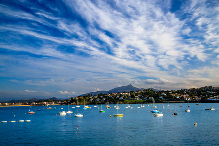 Saint jean de Luz bay with luxurious boats on a sea Stock Photo
