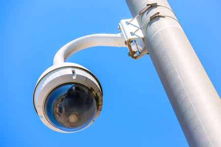 CCTV camera under blue sky seaside for the safety of tourists