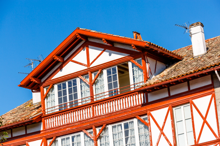 Typical Basque house in Basque Country, France Stock Photo
