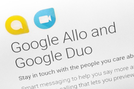 Paris, France - June 14 2017 : Close-up on Google Allo and Duo applications for Android phones and tablets Google is an American multinational corporation specializing in Internet-related services and products