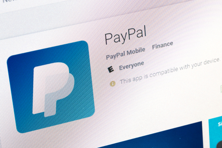 Paris, France - June 14, 2017: Paypal Application available on Google play. Google Play is a large library offering free or paid applications for mobile phones or tablets