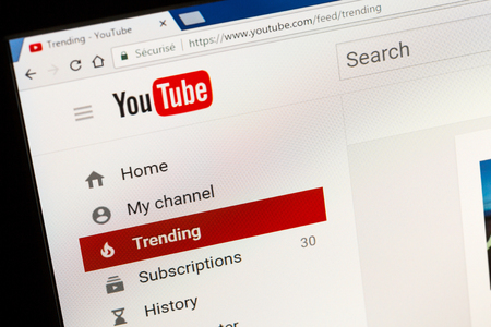 Paris, France - June 05, 2017 : YouTube website home page. YouTube is a video-sharing website, created by three former PayPal employees and owned by Google since late 2006.