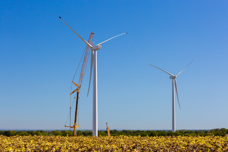 Ferrieres, France - August 22, 2017: Installation of a wind turbine in wind farm construction site