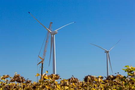 Installation of a wind turbine in wind farm construction site