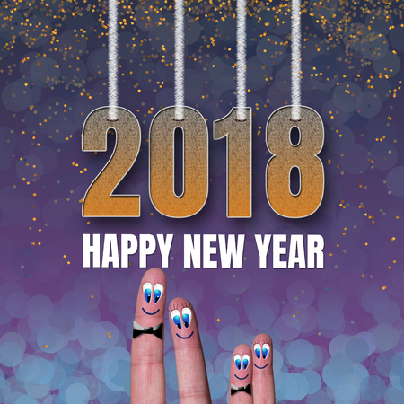 Square card Happy New Year 2018 with funny family fingers
