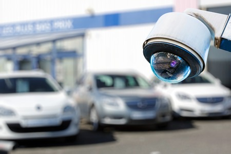 CCTV camera or surveillance system for car dealer monitoring Stock Photo