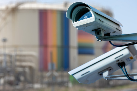 CCTV camera or surveillance system for sensitive industrial site protection Stock Photo
