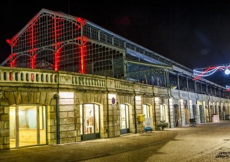 Niort, France - December 05, 2017:Christmas nightlife, Old market illuminated in the city center of niort