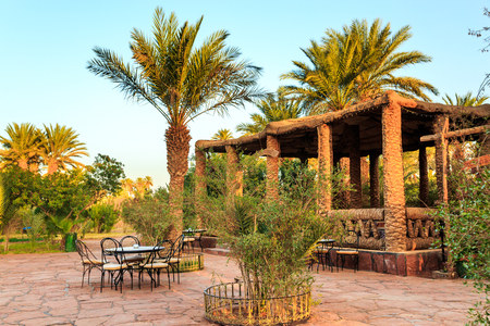 M'hamid, Morocco - February 22, 2016: Chez le Pacha hotel inside view of the patio and typical arabic inside garden to relax