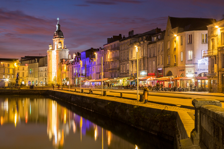 Harbor by night with beautiful sunset in La Rochelle Town