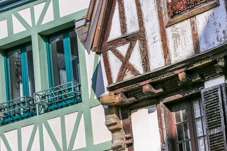 closeup on exterior facade of a typical brittany house