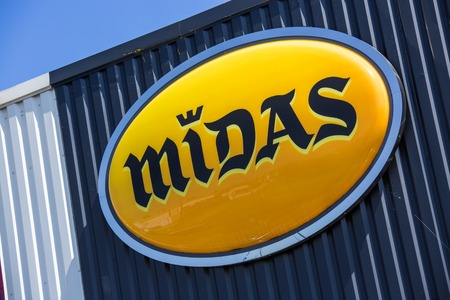 Argenteuil, France - April 23 2015: Closeup on Midas logo,. Midas is a company specialised in fast car repairing and maintenance