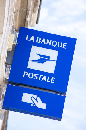 Niort, France - July 23 2015: sign representing the logo of the banque postale wich is the French post office related to banking services