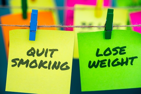 Closeup notes health concept for motivation for quit Smorking and lose weight