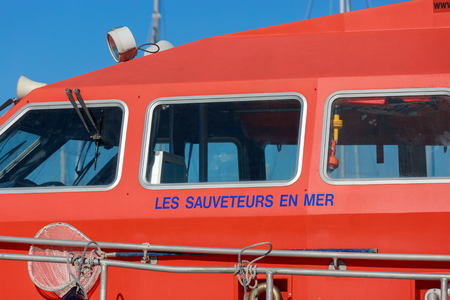 La Rochelle, France - August 22, 2016:boat rescuers at sea (Les sauveteurs en mer in french) moored on the harbor of the minimes, la rochelle, France. lifeboat belonging to the association SNSM. Rescuers at Sea have embarked since 2008 in a process of e