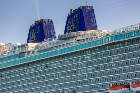 La rochelle, France - August 22, 2016 : Passenger cruise ship, Cruise ship, the Britannia by P & O Cruises, with modern balcony and detail architecture at deck at La rochelle, France. MV Britannia is a cruise ship of the P&O Cruises fleet. She was built b