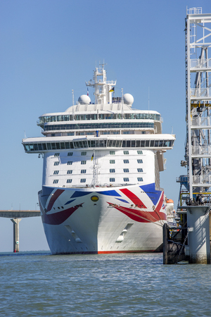 La rochelle, France - August 22, 2016 : Front view of Cruise ship, the Britannia by P & O Cruises anchored at the port of La rochelle, France. MV Britannia is a cruise ship of the P&O Cruises fleet. She was built by Fincantieri at its shipyard in Monfalco