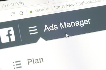 "Houilles, France - April 10, 2018:Word ""Ads Manager"" of the Facebook website with the mouse cursor positioned on it. This menu allows to create advertising campaigns targeted on the social network"