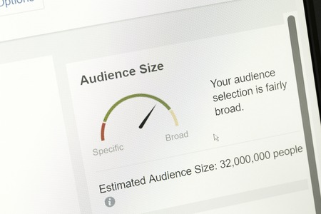 Houilles, France - April 10, 2018:Gauge graphs represent the potential audience estimated during the creation of an advertising campaign in the module Ads Manager of facebook