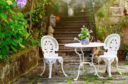 Vintage seating arrangement made of iron outdoor Stock Photo