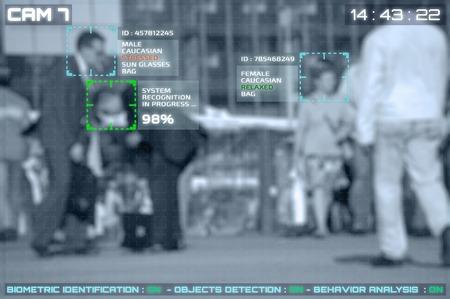 Simulatie van een scherm van cctv-camera's met gezichtsherkenning