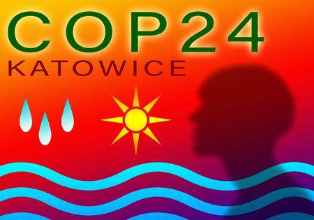 COP 24 in Katowice, Poland. Coloreful llustation event concept