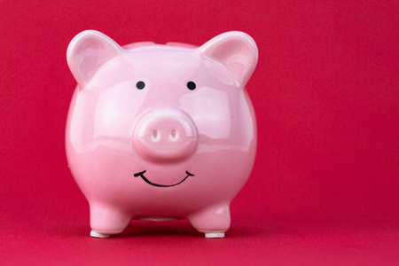 Piggy bank savings concept with raspberry color on background