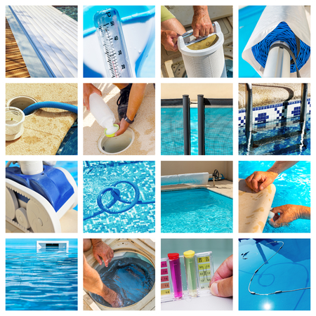 collage about maintenance of a private pool Фото со стока