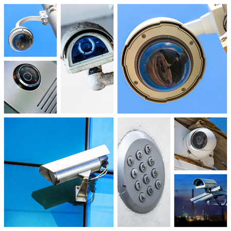 set of closeup security camera in various situation