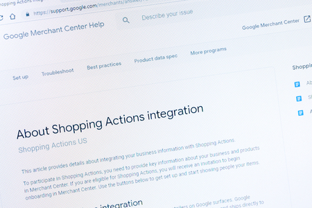 Benon, France - January 14, 2019 : Shopping actions faq page on Website of Google Merchant Center, a tool that helps upload store and product data to Google for Shopping ads. Redactioneel