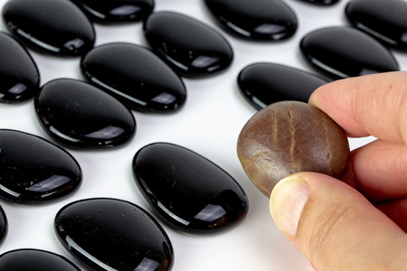 Black pebbles on white background with brown pebble. Concept of diversity or singularity