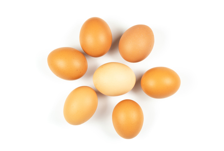 Seven Chicken eggs flower-shaped on white background. Top view