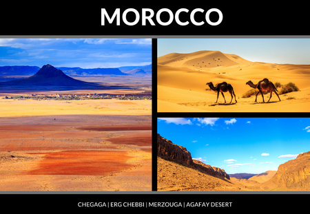 Collage of beautiful landscapes of the Moroccan desert. Postcard concept. Banco de Imagens
