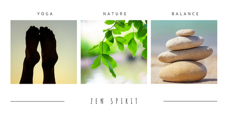 Spa zen wellness green theme photo collage composed of different images