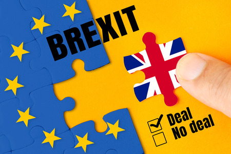Brexit, Flags of the United Kingdom and the European Union on puzzle. No deal result checked