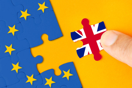 Brexit, Flags of the United Kingdom and the European Union on puzzle Banco de Imagens