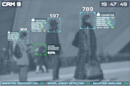 Bildschirm von CCTV-Kameras mit Gesichtserkennung und Anzeige von Sozialkrediten von Menschen auf der Straße