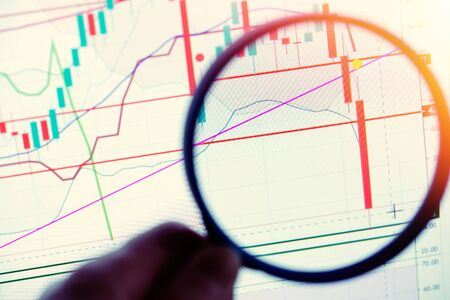 Close up on Japanese stock market candles showing a large drop magnified with a magnifying glass