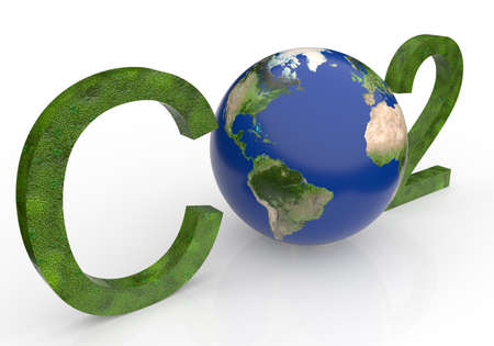 chemical symbol CO2 for carbon dioxide in green - a globe is replacing the letter o Imagens