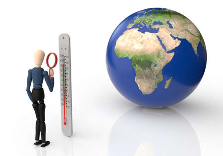 Earth and wooden puppet looking at a thermometer with a magnifying glass. Rising temperatures, global warming concept Фото со стока